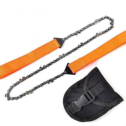Handkettensäge, 33 Kohlenstoffstahlzähne Folding Survival Chain Saw Starke scharfe Zähne Camping Wandern Jagd Gartenarbeit Outdoor Notfall Inklusive Tragetasche